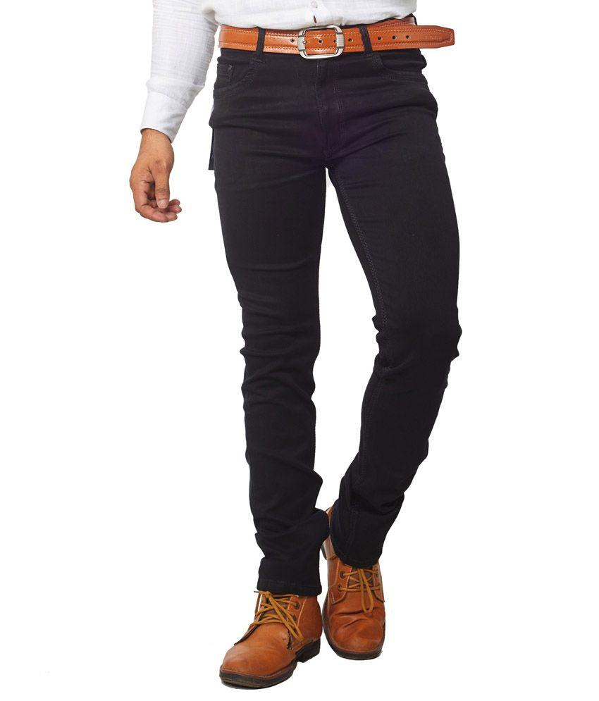 Aflash Black Regular Fit Faded Jeans