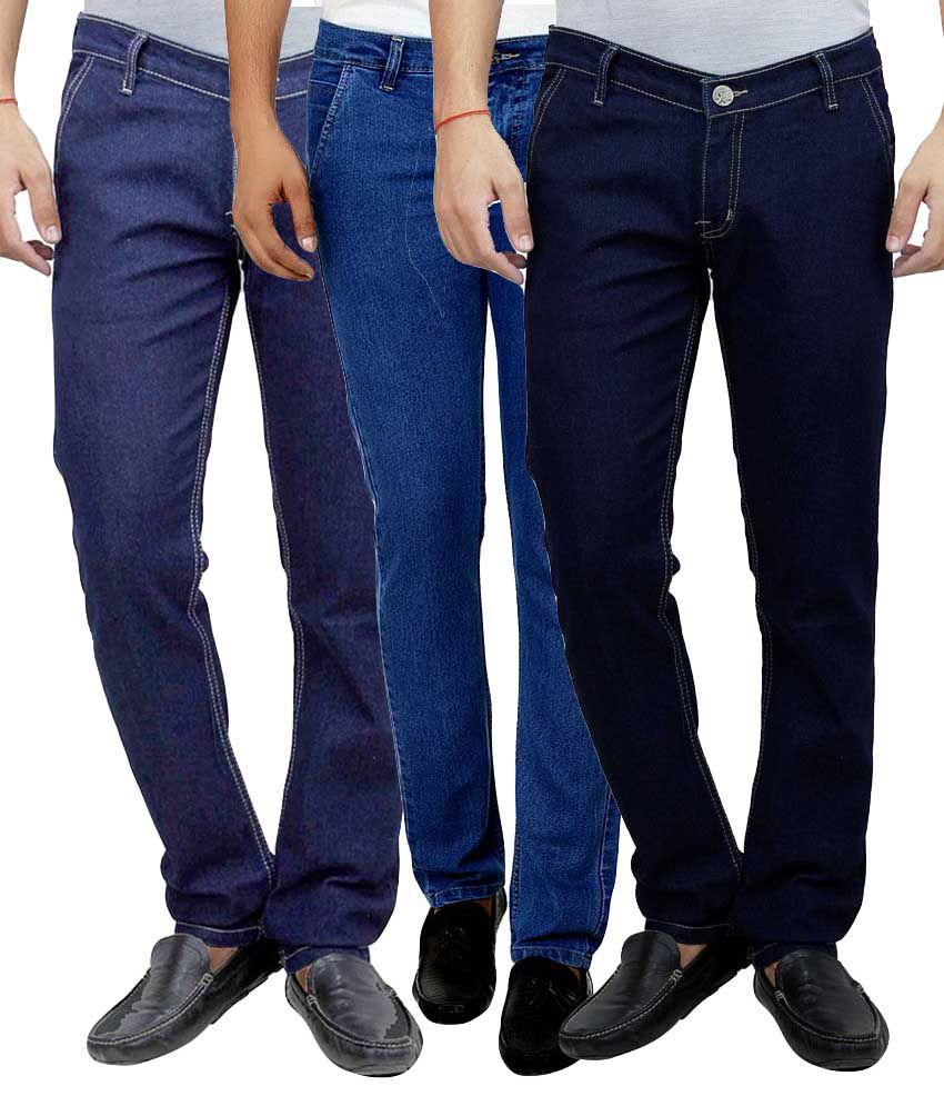 Ansh Fashion Wear Multi Regular Fit Solid Jeans Pack of 3