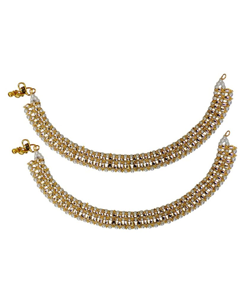 Charvee Golden Alloy Pair of Anklets