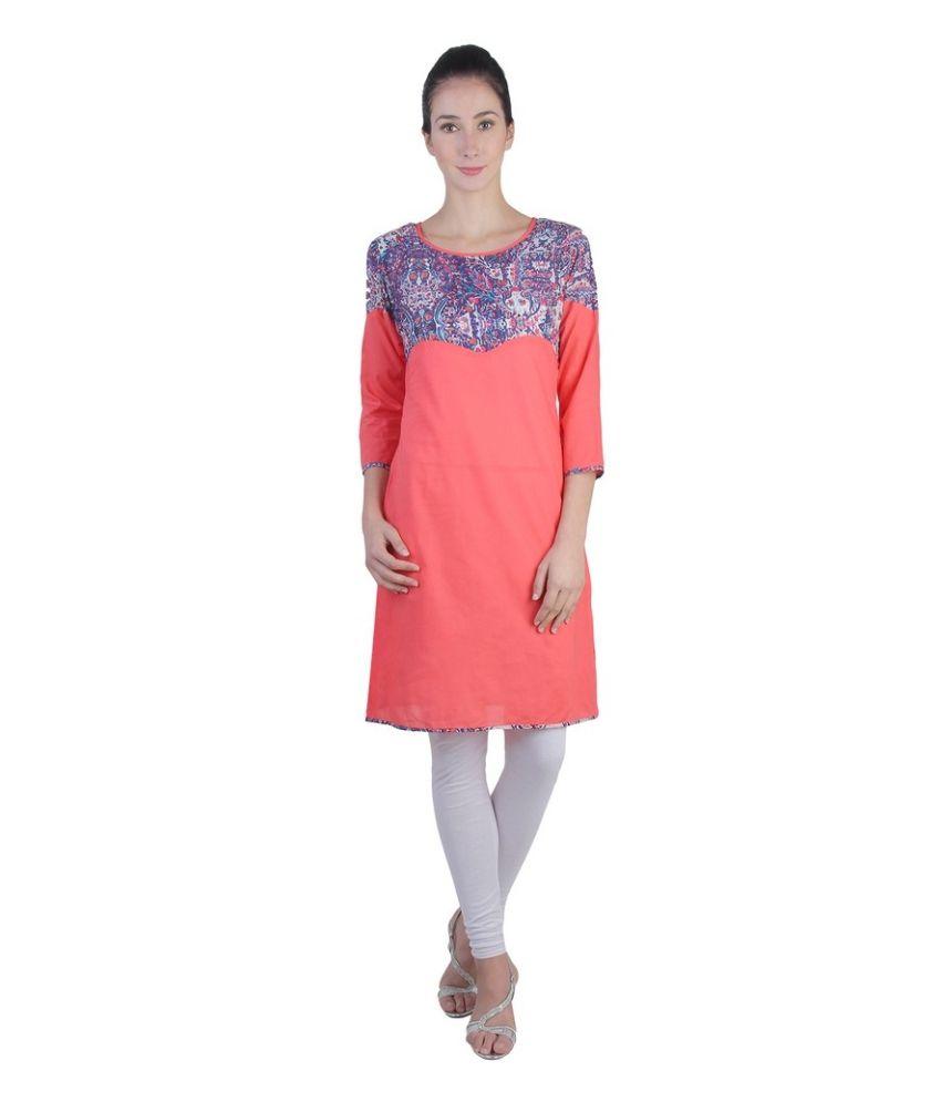 Sritika Red Cotton Straight Kurti