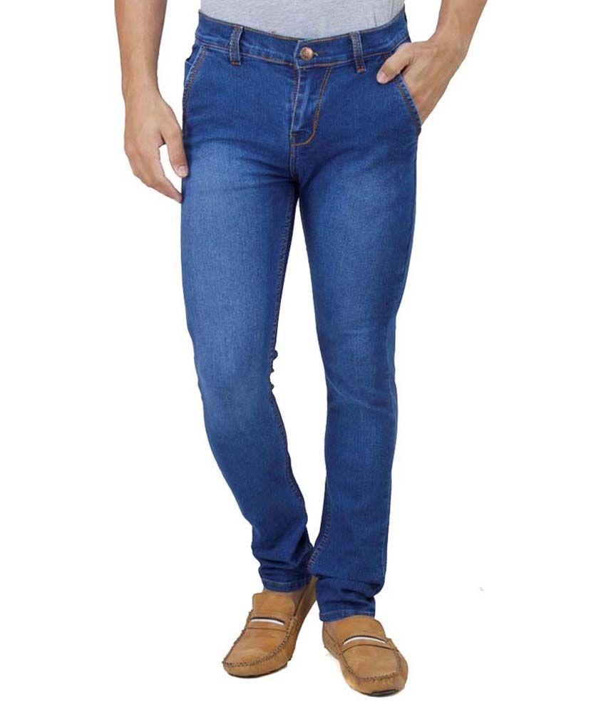 Ansh Fashion Wear Fashion Wear Blue Regular Fit Faded Jeans