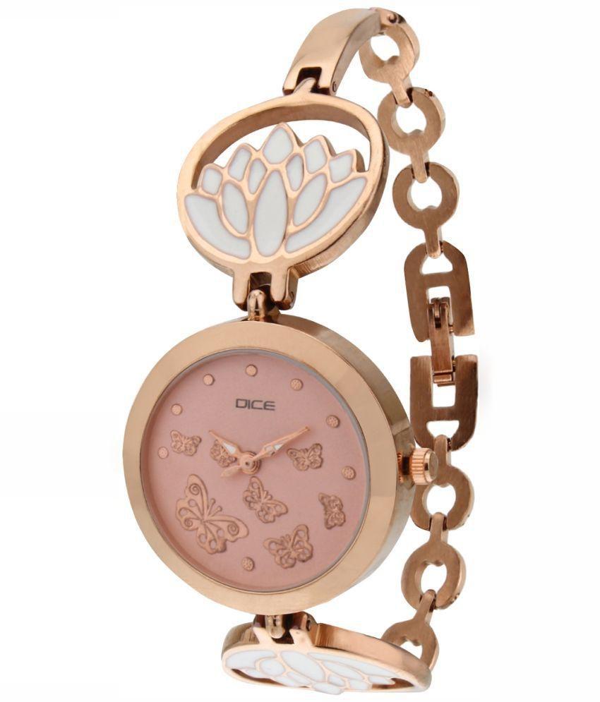 Dice Golden Analog Bracelet Watch