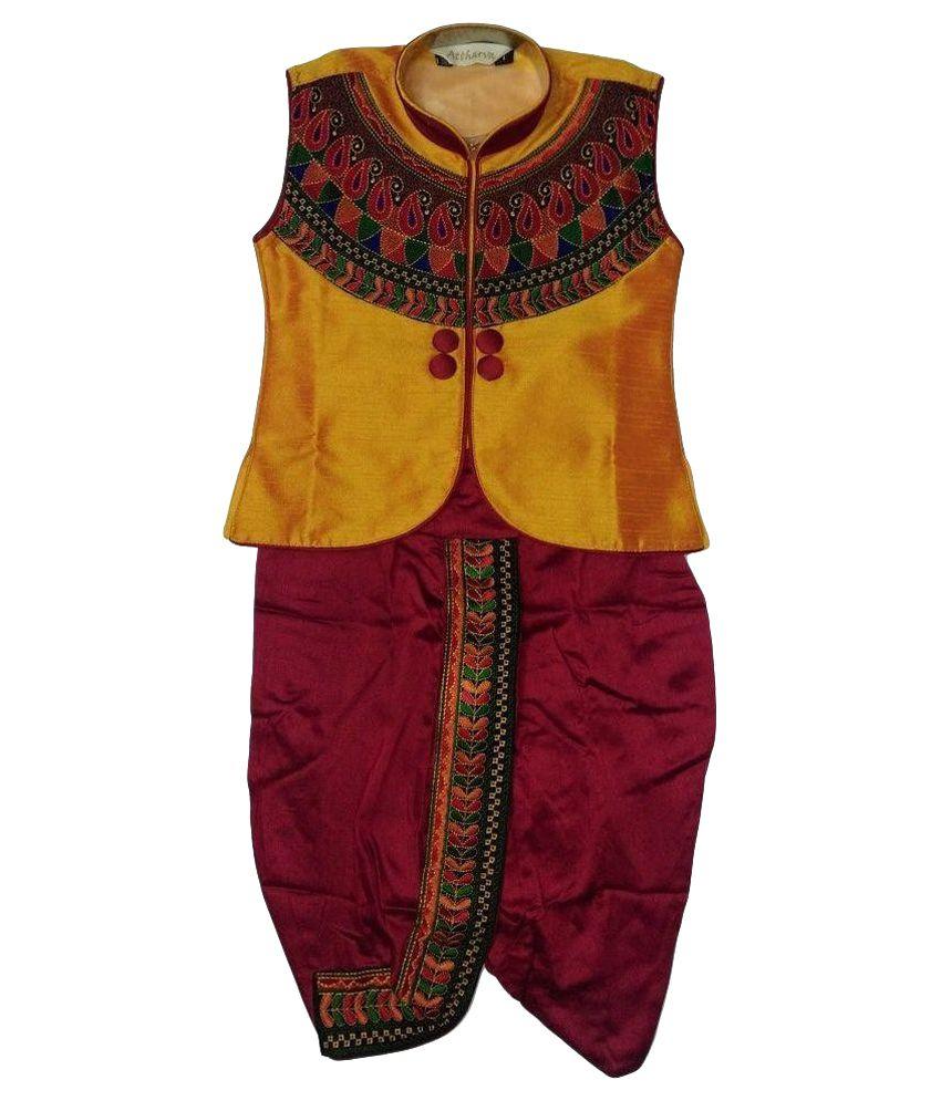 Neeya Fashions boys Yellow and Red Ethnic Wear, Boys Traditional Jacket and Dhoti Set
