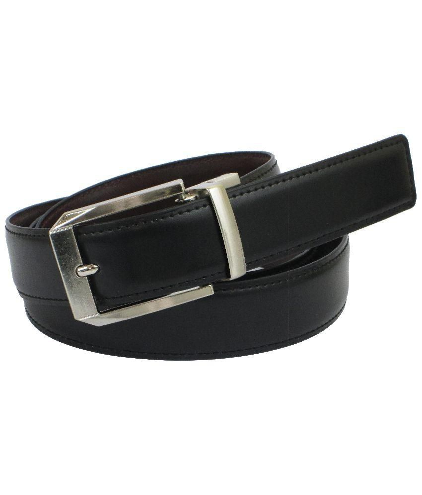 Abhinavs Black and Brown Reversible Leather Belt for Men