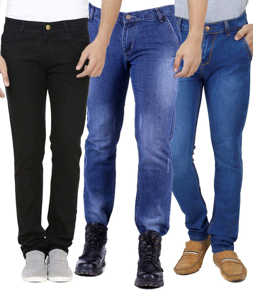 Ansh Fashion Wear Multi Regular Fit Faded Jeans Pack of 3