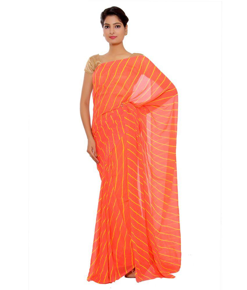 Sudha Fashion Shop Orange Georgette Saree