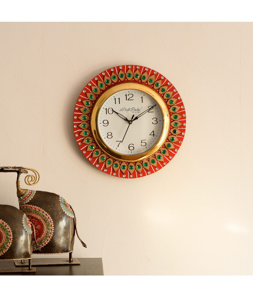 eCraftIndia Decorative Handmade Wooden Wall Clock