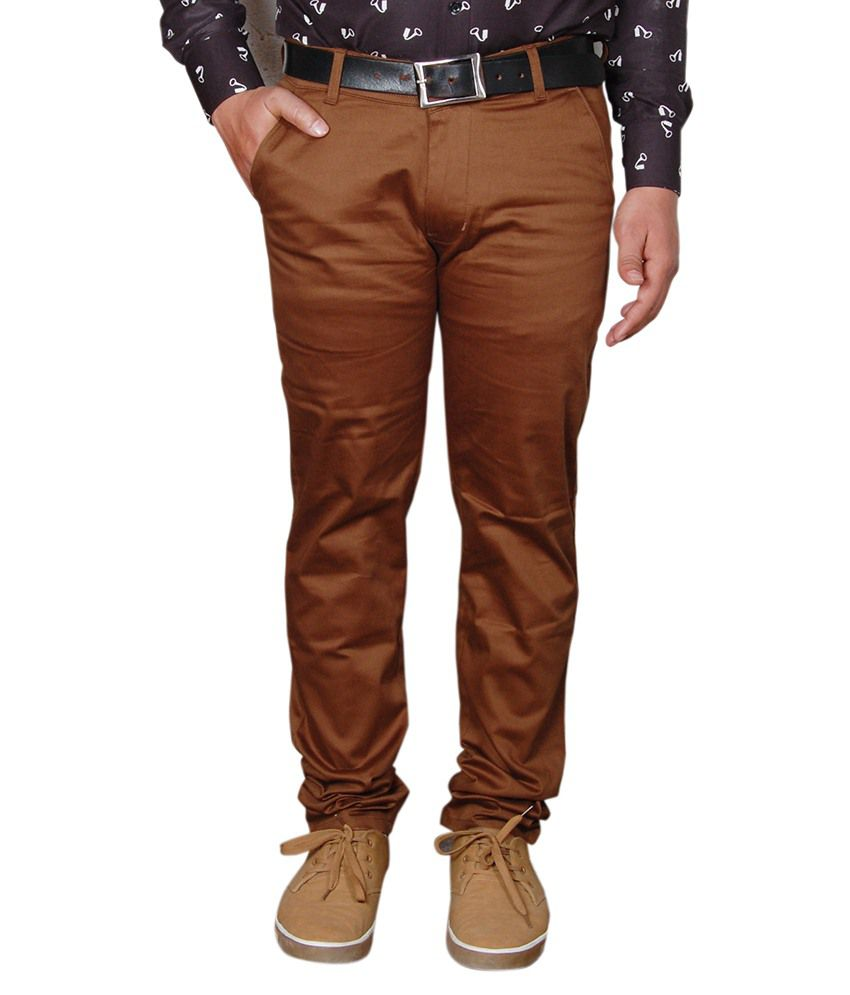 Avastra Brown Regular Fit Flat Trousers