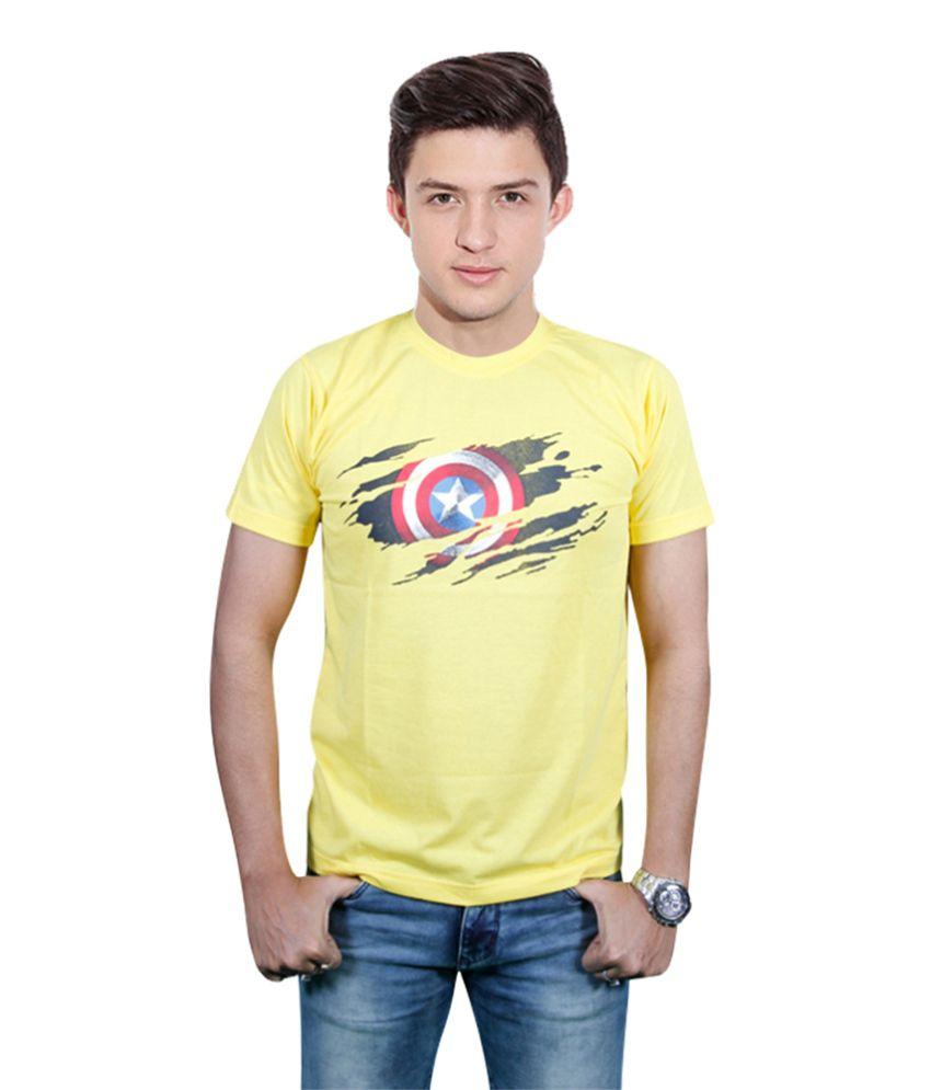 FYDA Printed Yellow Round T Shirts