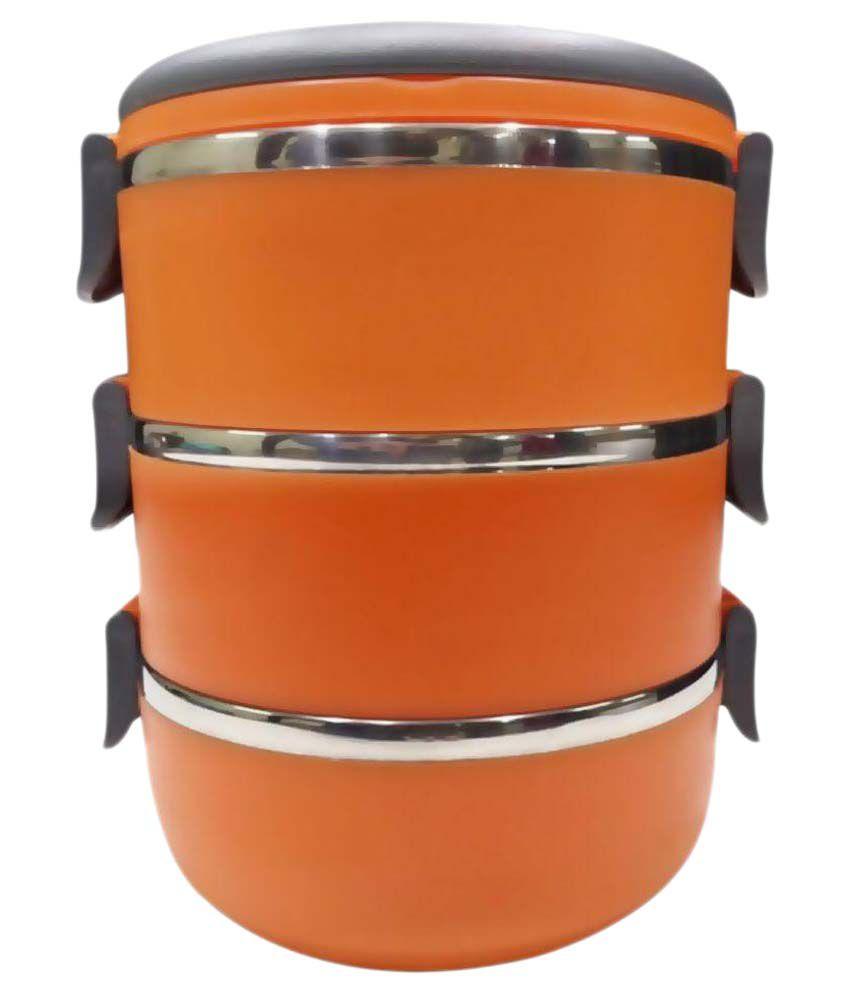 Hengli Orange Stainless Steel 3 Layer Lunch Box