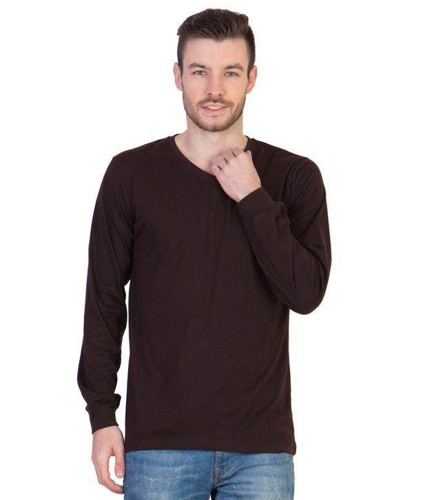Acomharc Inc Brown Cotton Full Sleeves V-Neck T-shirt