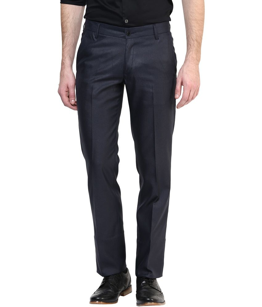BUKKL Blue Slim Flat Trouser