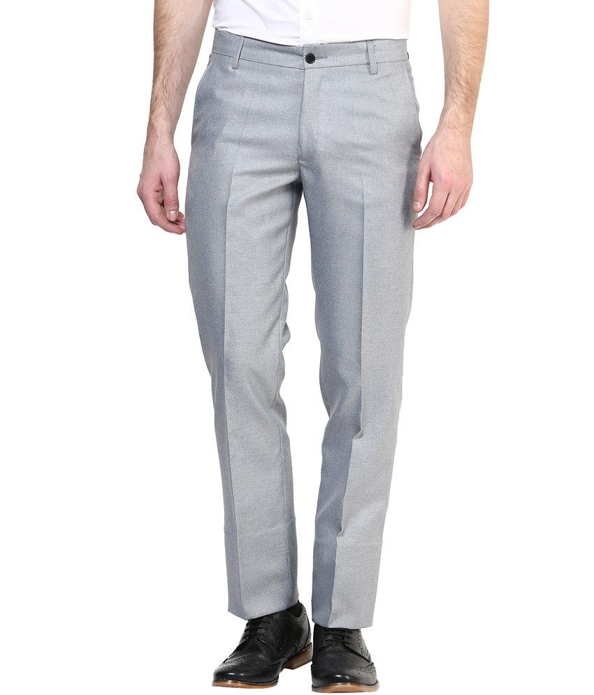 Bukkl Grey Slim Fit Formal Flat Trousers