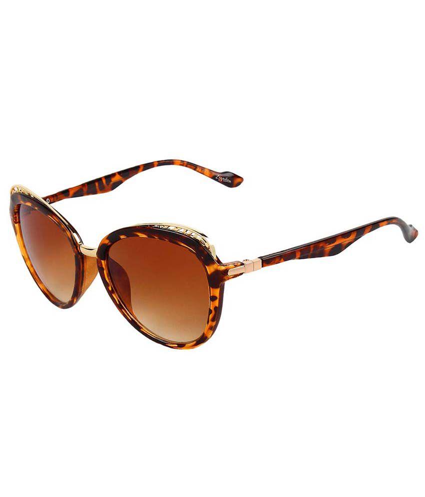 Zyaden Brown Oval Sunglasses
