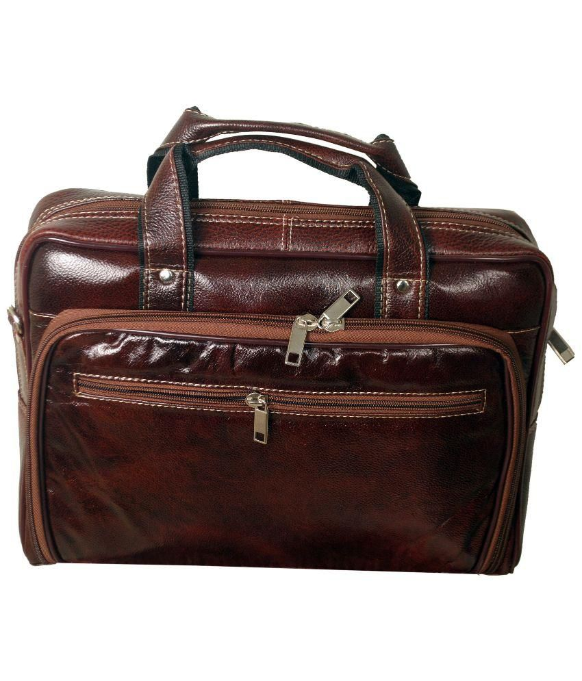Green Hide Brown Leather Laptop Bag