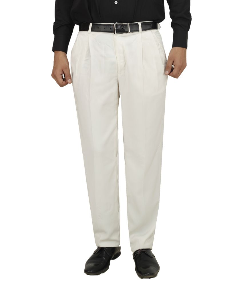 Koutons Off-White Regular Fit Pleated Trousers