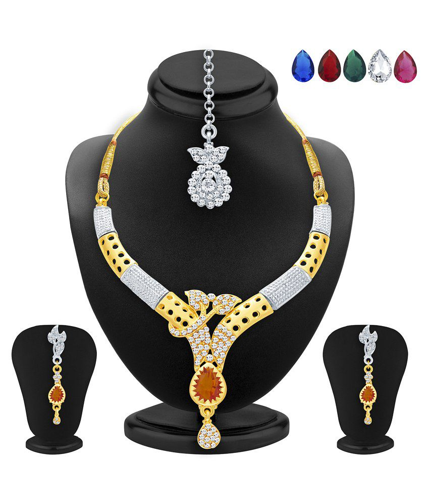 2522NADP550_S1 Golden and Silver Alloy Necklace Set With Maang Tika