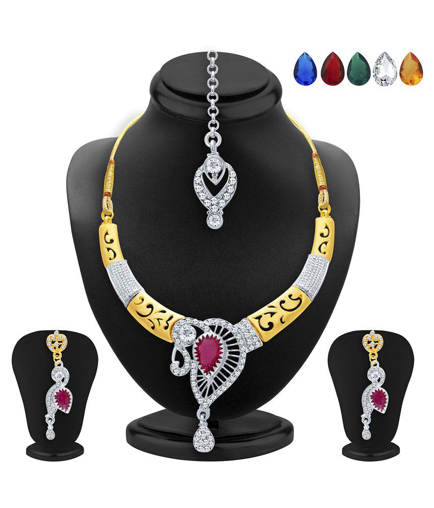 2523NADP550_S1 Golden and Silver Alloy Necklace Set With Maang Tika