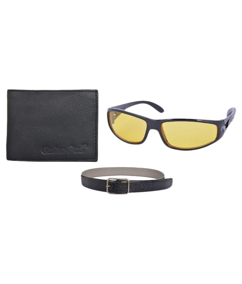 DM Black Pin Buckle Casual Belt with Wallet and Sunglasses for Men