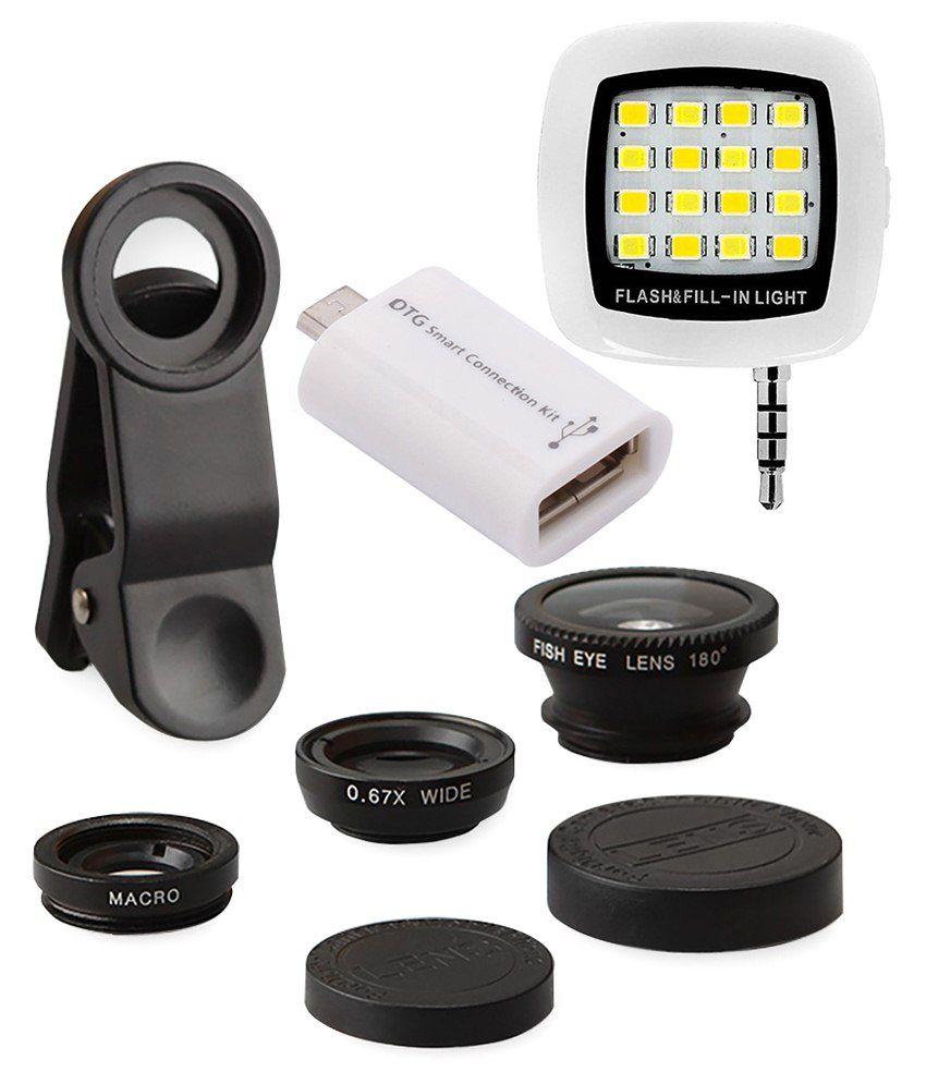 finest mobile camera lens kit with rechargeable led selfie. Black Bedroom Furniture Sets. Home Design Ideas