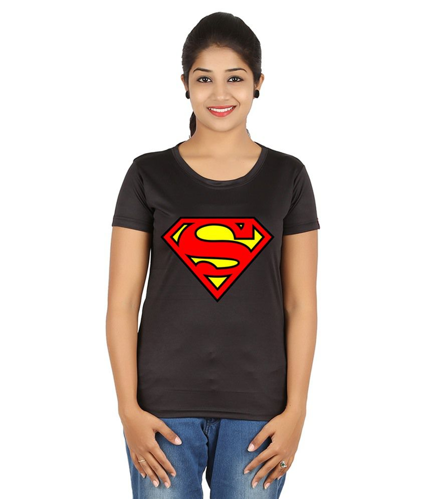 FanIdeaz Black Silky Polyester Superman DC  T-Shirt for Women