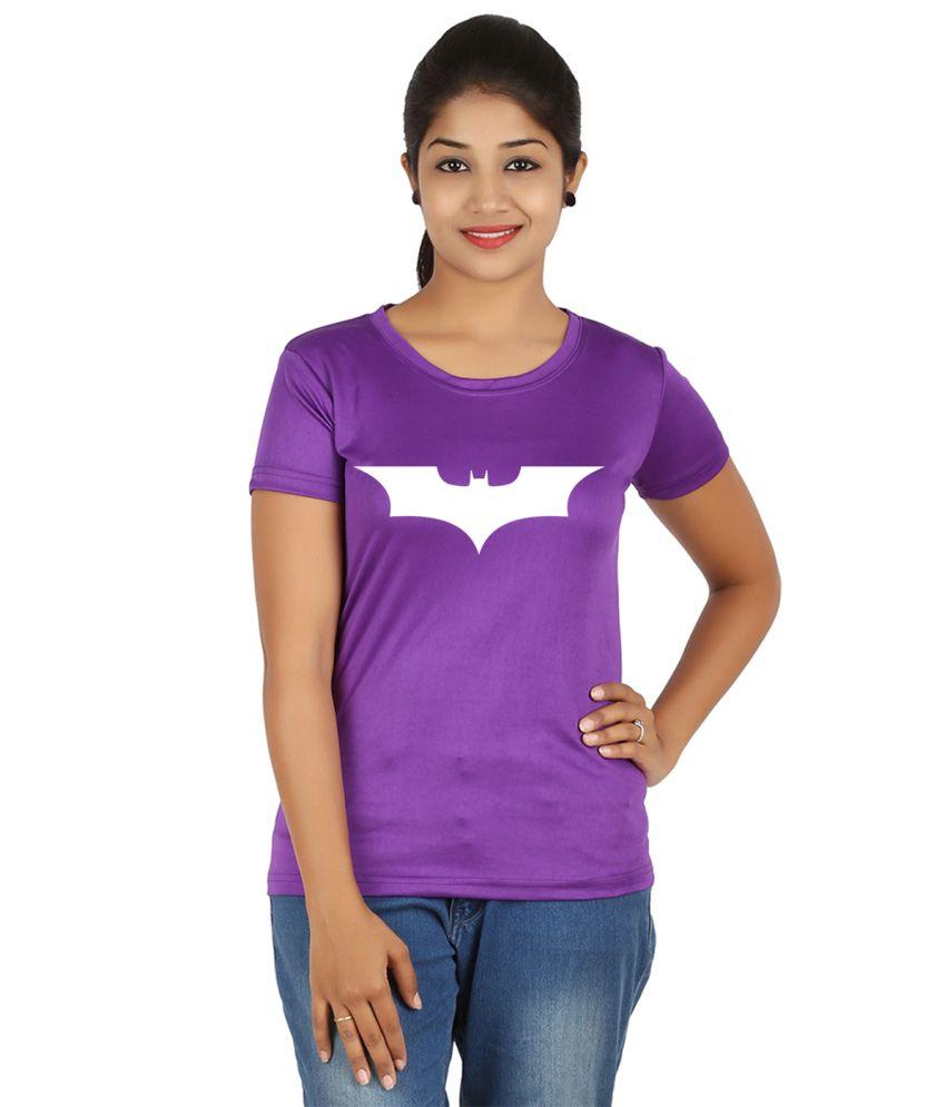 FanIdeaz Purple Silky Polyester Batman V T-Shirt for Women