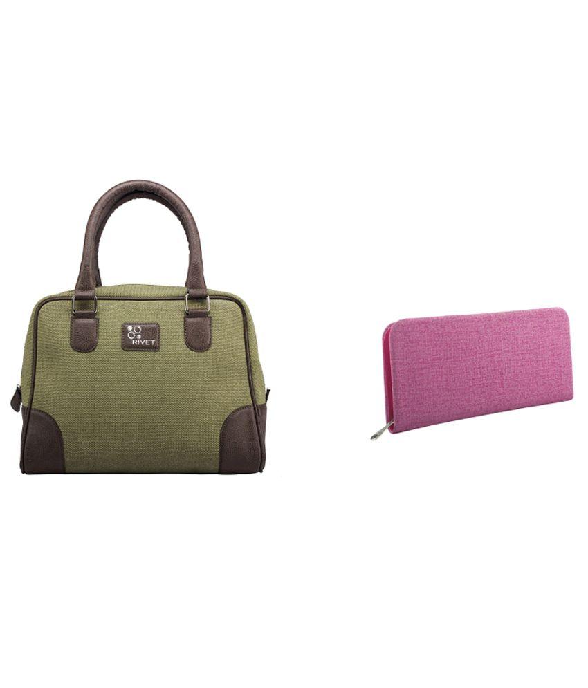 Rivet Olive Handbag with Pink Ladies wallet