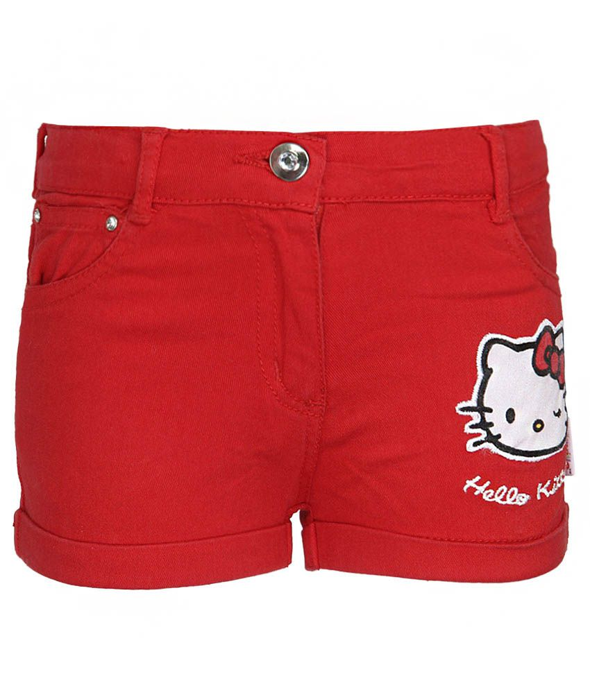 Hello Kitty Red Printed Shorts