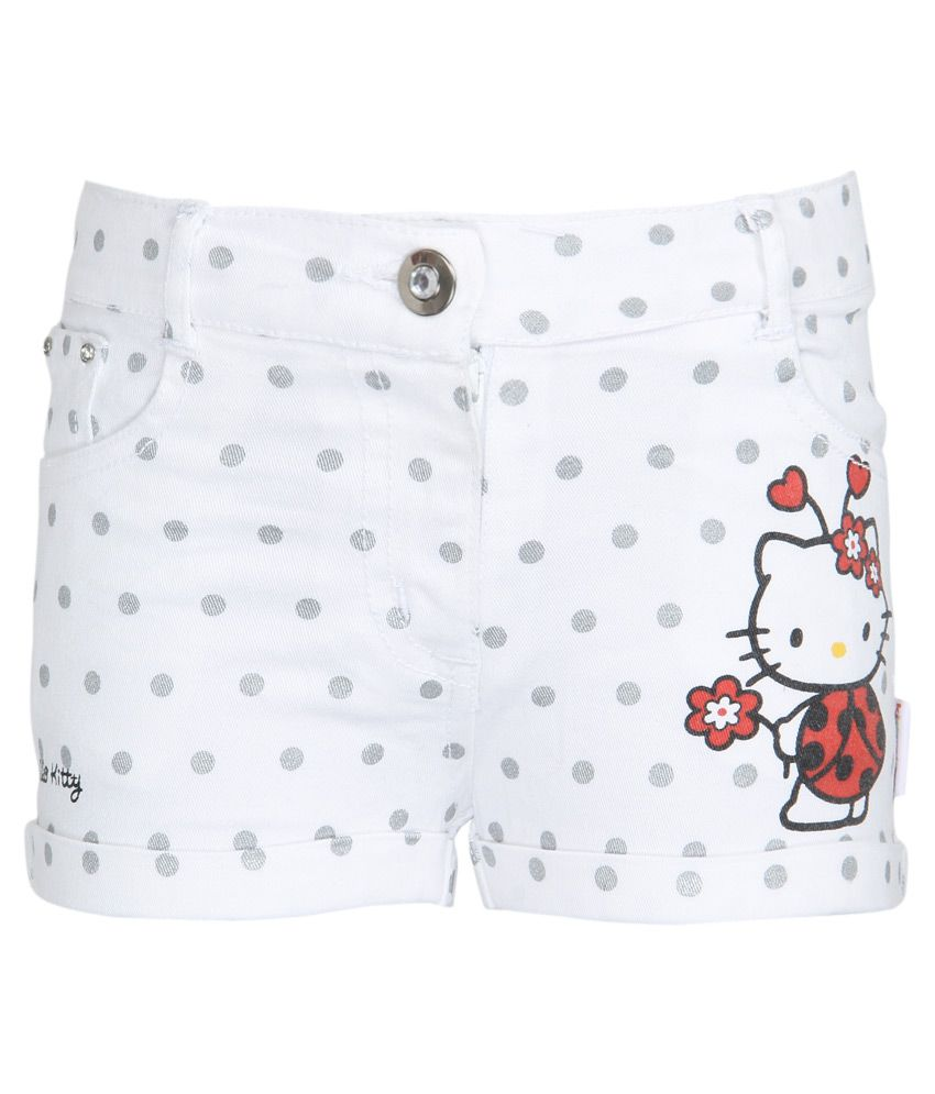 Hello Kitty White Printed Shorts