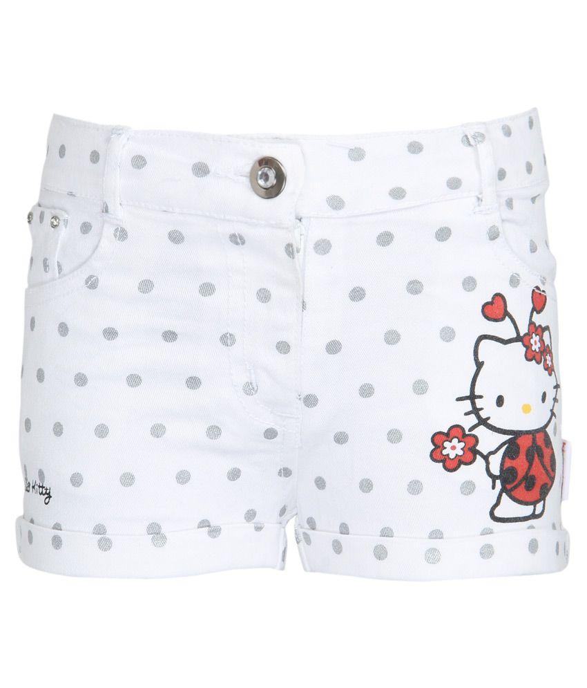 Hello Kitty White Printed Shorts