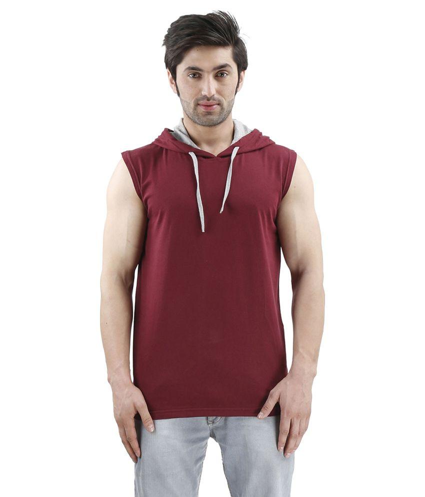 Inkovy Maroon Hooded T Shirts