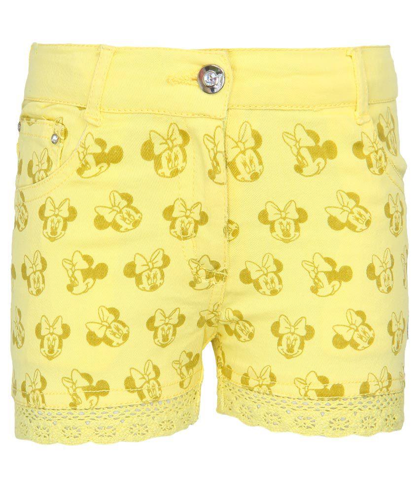 Mickey & Friends Yellow Printed Shorts