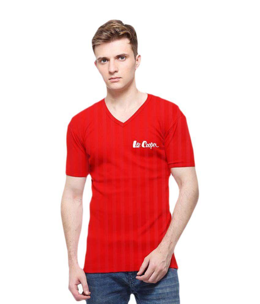 Lee Cooper Red V-Neck T Shirt