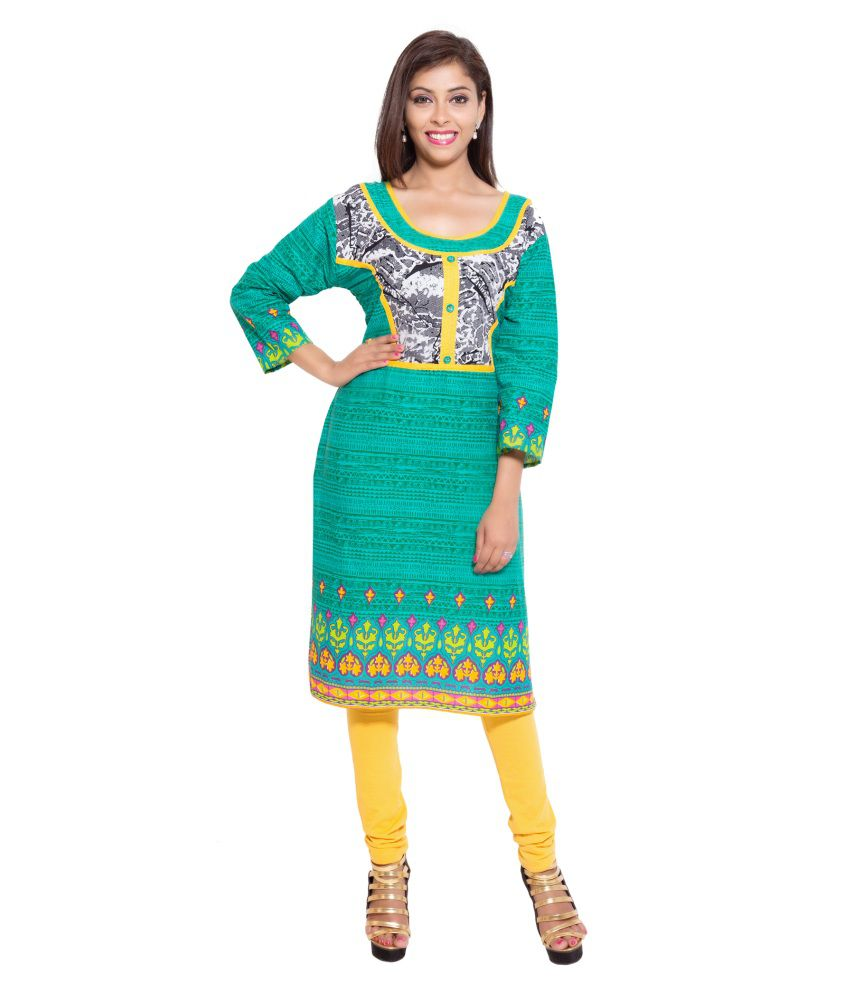 Reet Designers Green Cotton Straight Kurti