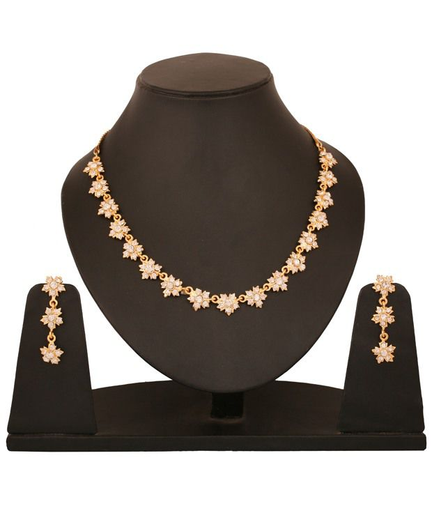 Touchstone Golden AD Studded Floral Necklace Set