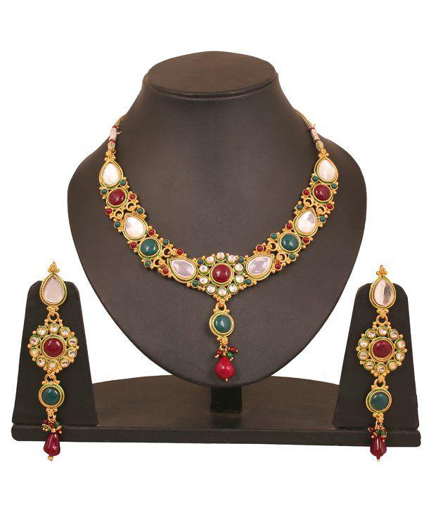Touchstone Golden Floral Kundan Necklace Set