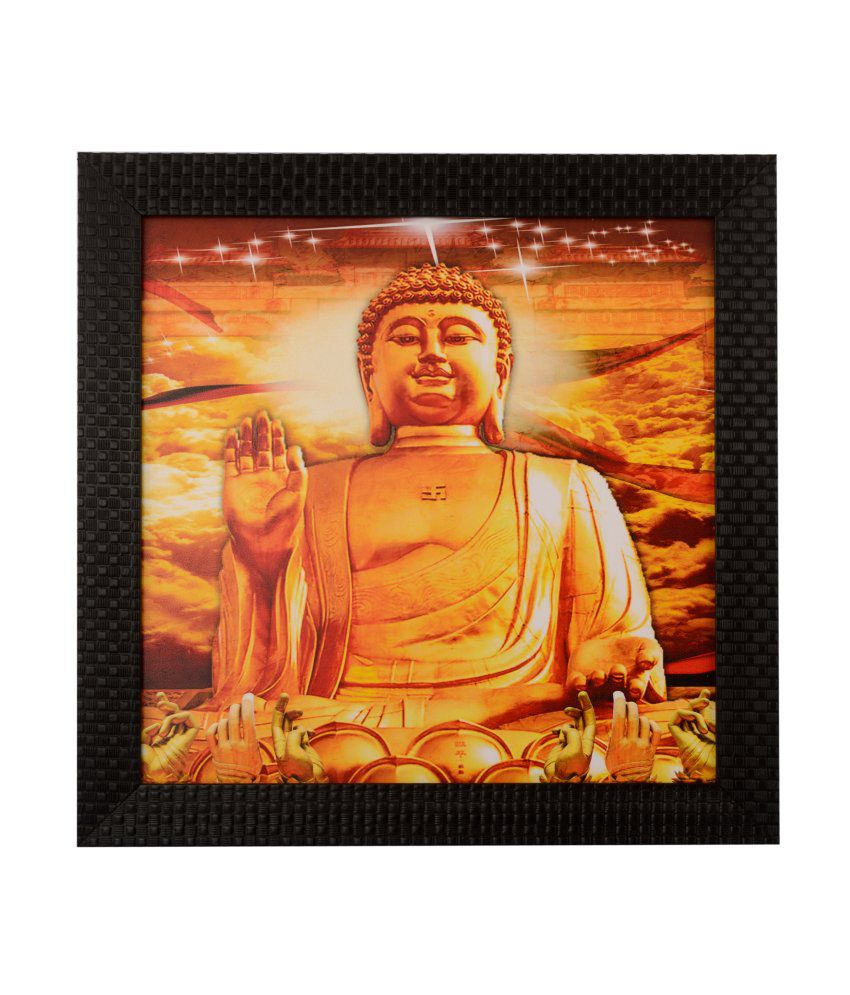 eCraftIndia Blessing Buddha Satin Matt Texture Framed UV Art Print