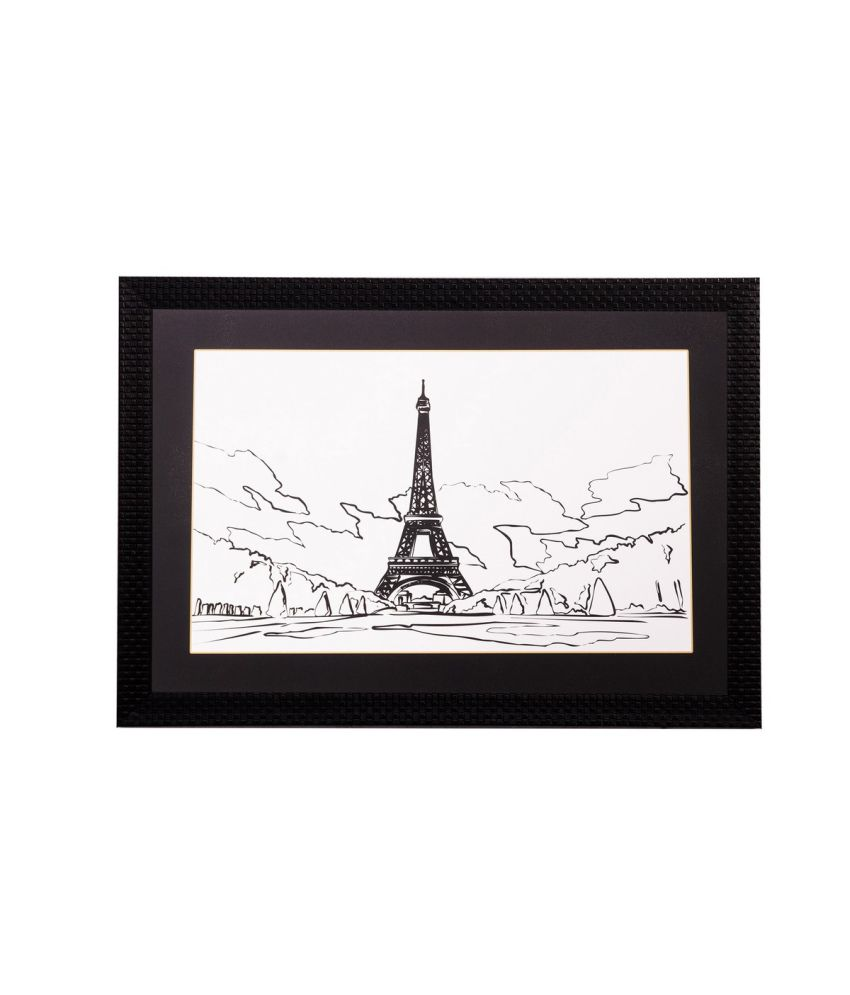 eCraftIndia Lovely Eiffel Tower Matt Textured Framed UV Art Print