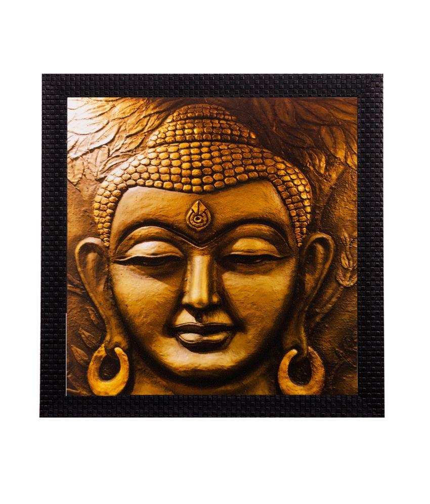 eCraftIndia Meditating Buddha Matt Textured Framed UV Art Print (Pack of 3)