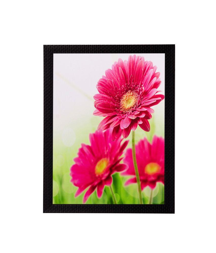 eCraftIndia Pink Sunflower Matt Textured Framed UV Art Print