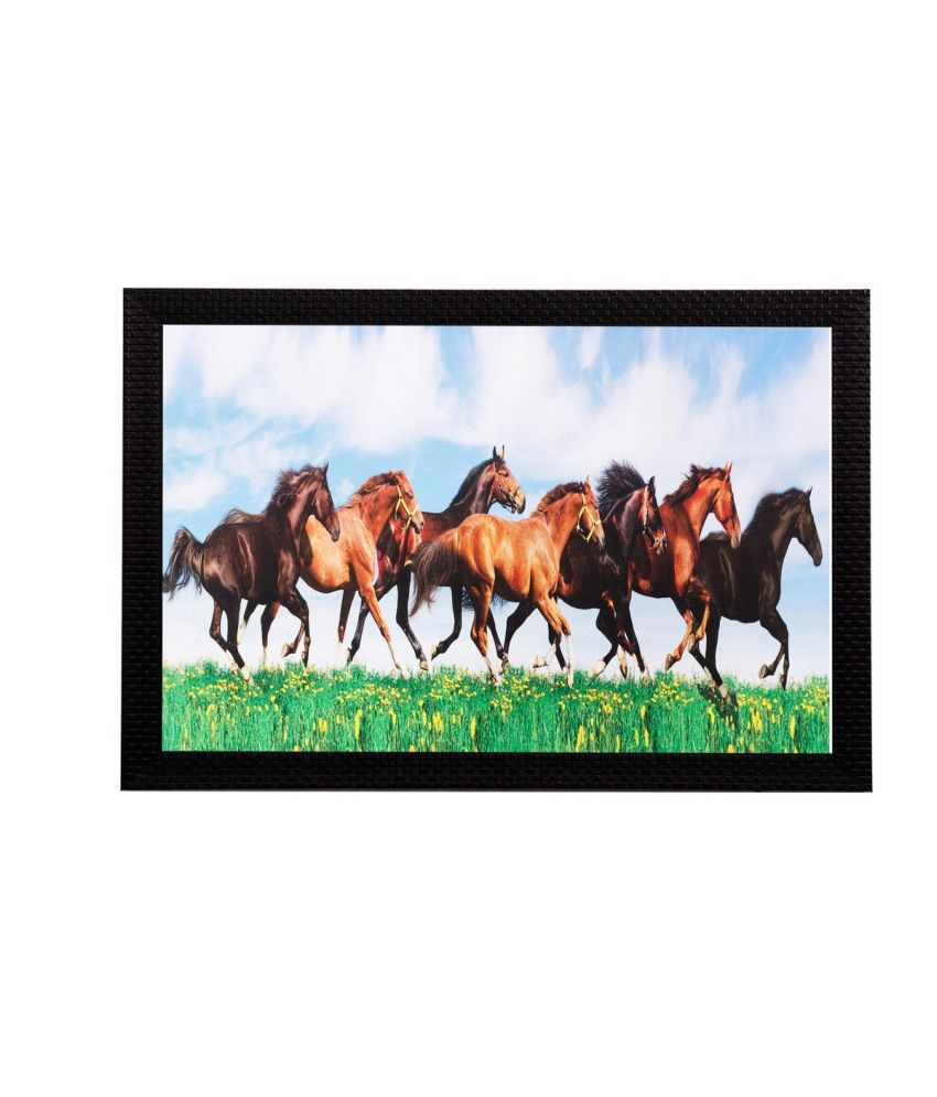 eCraftIndia Running Horses Matt Textured Framed UV Art Print