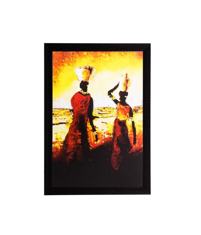 eCraftIndia Walking Tribal Woman Matt Textured Framed UV Art Print