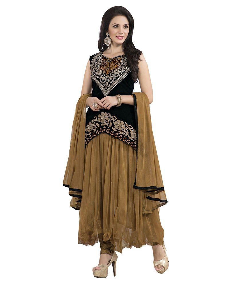 Texclusive Brown Net Anarkali Semi Stitched Dress Material