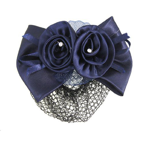 TOOGOO Imported Women Rhinestone Inlaid Blue Flower Bow Hair Clip Snood Net Bun Cover Barrette