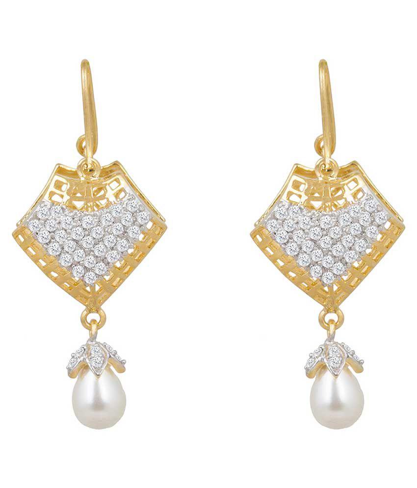 Inaya Gold Plated White American Diamond Earrings