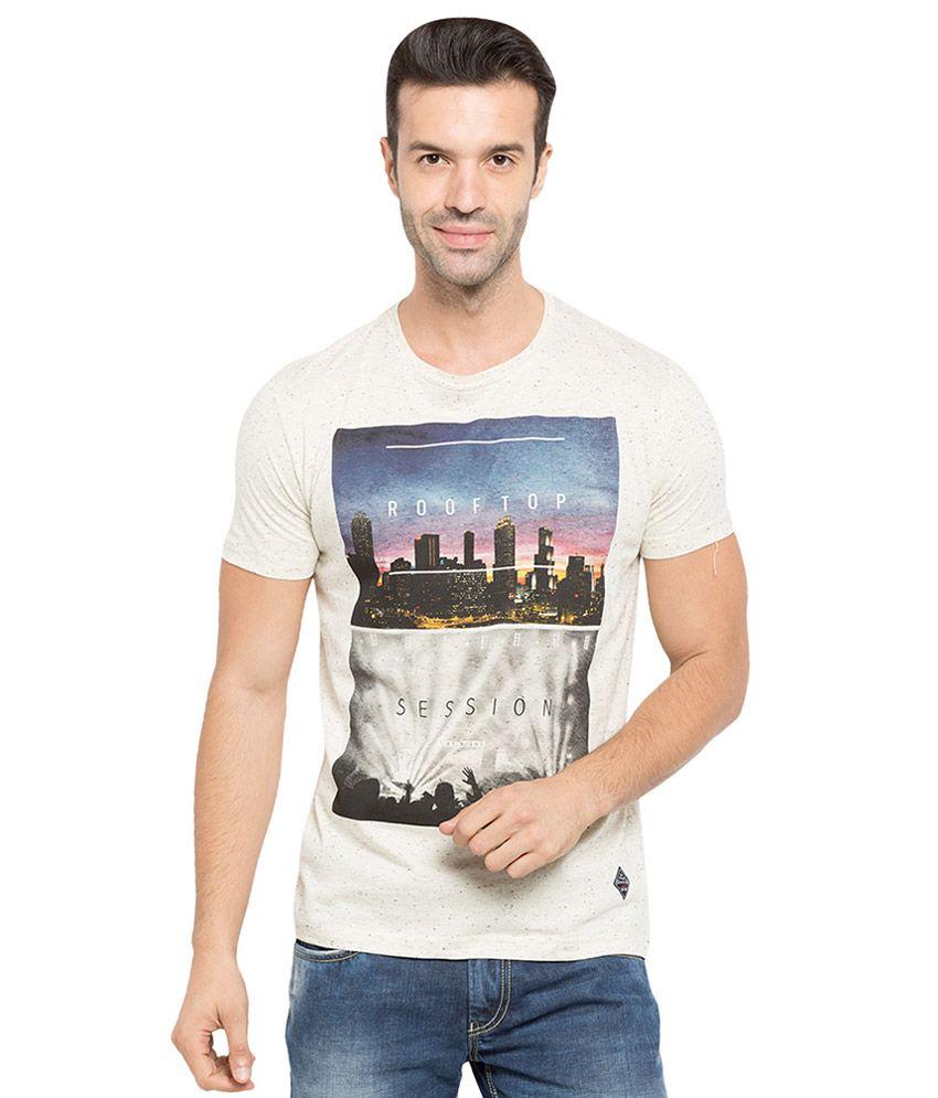 Status Quo Beige Half Sleeves T-Shirt