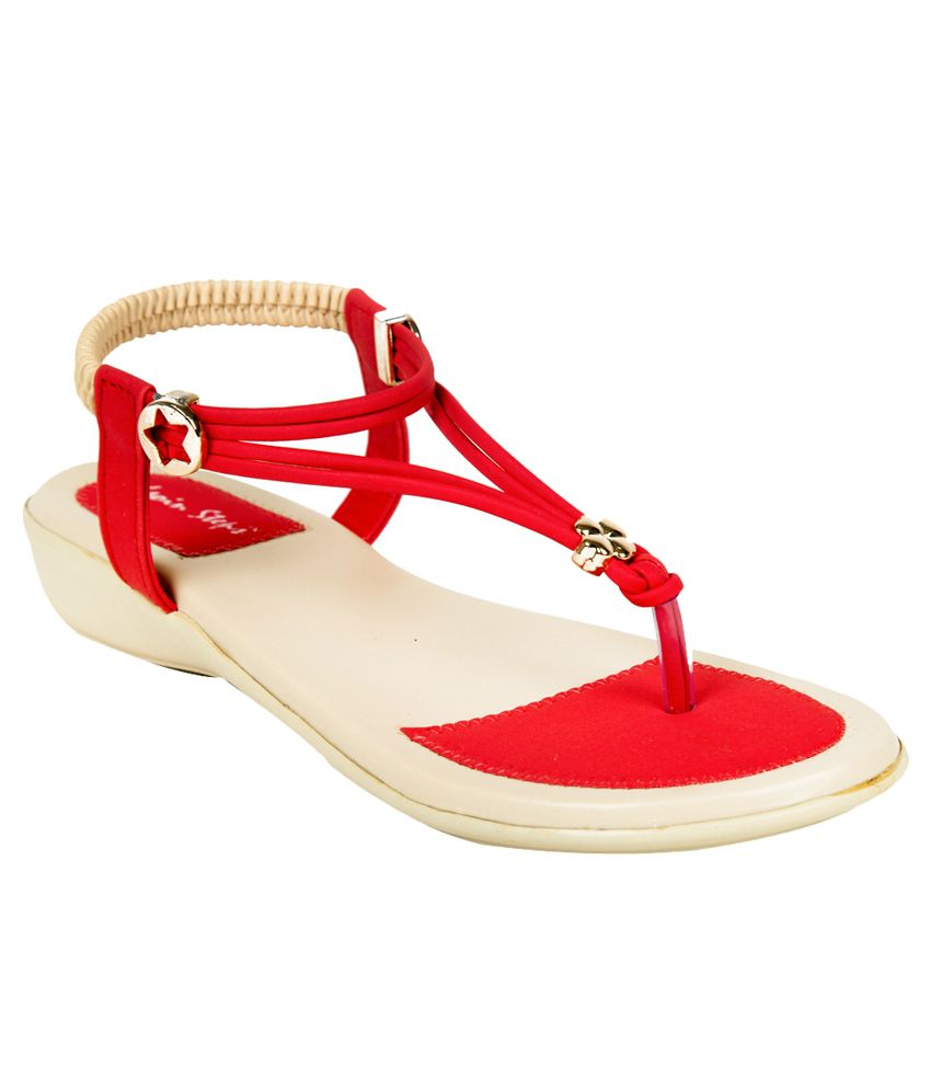 Adjoin Steps Red Flat Slip-on & Sandal