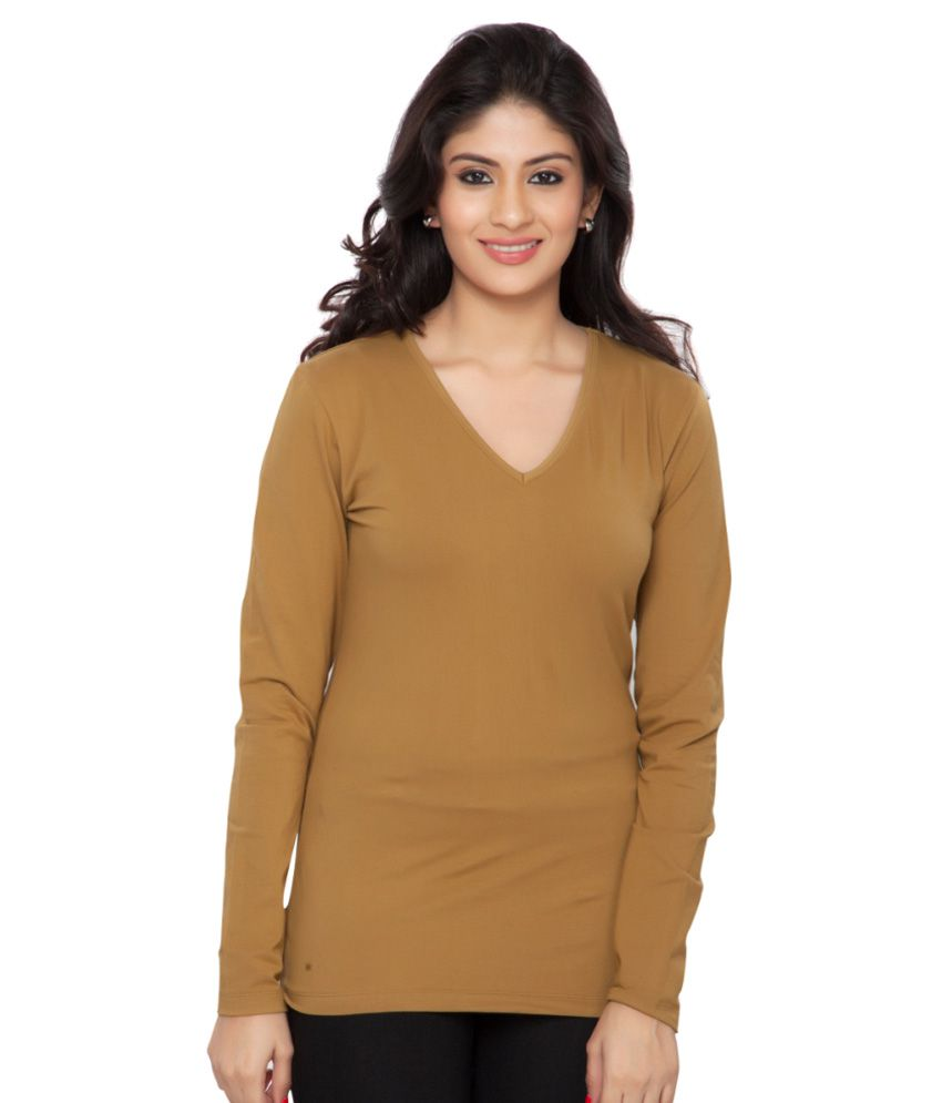 Clifton Brown Full Sleeves Tees for Women