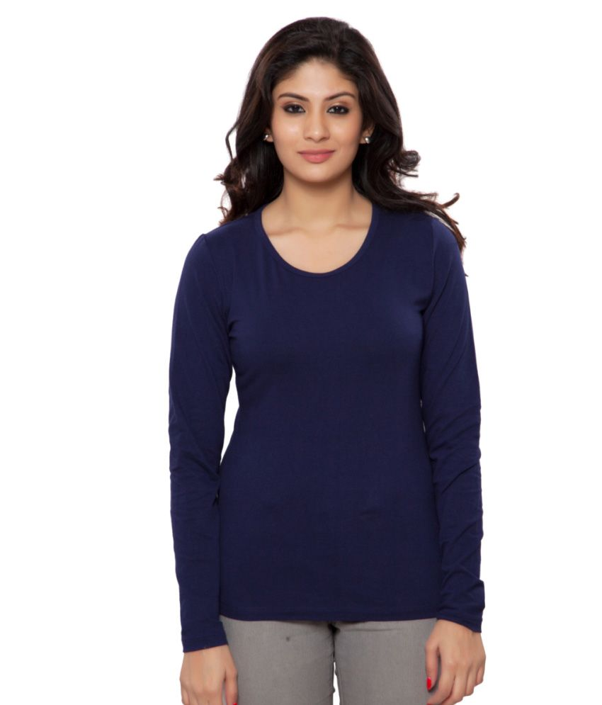 Clifton Navy Plain Full Sleeves Tees for Women