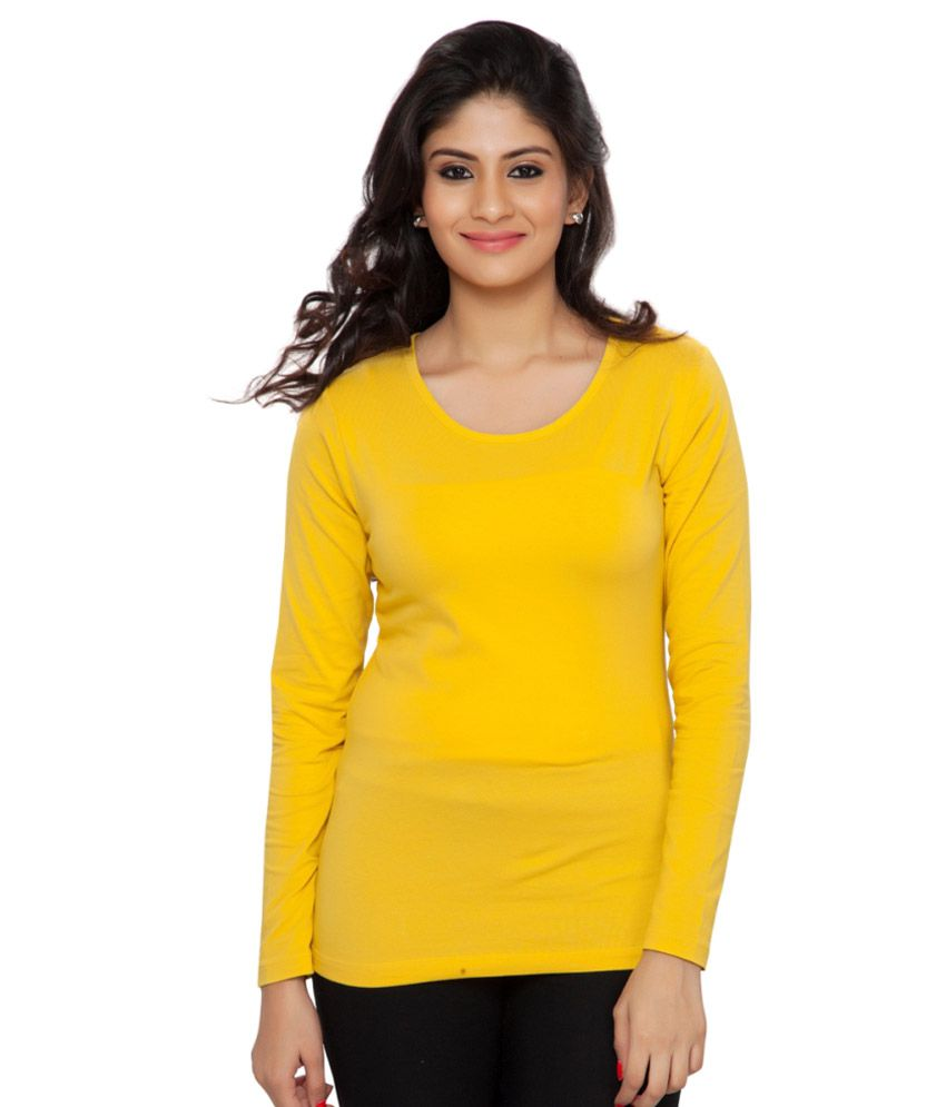 Clifton Yellow Plain Full Sleeves Tees for Women